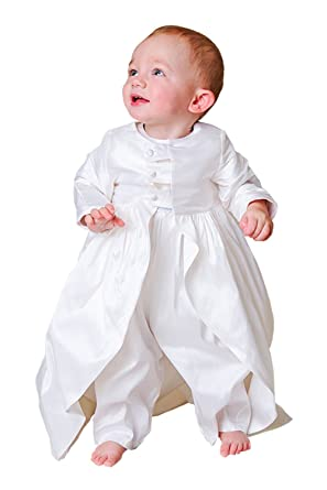 4b7c08b11 Newdeve Baby-boys White/Ivory Christening Gowns Baptism Romper Suits  (Newborn, Ivory