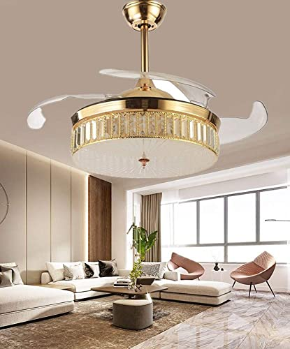 Sweety House Modern 42″ Crystal Invisible Ceiling Fan Chandelier