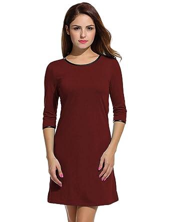 3b17f1b9e5bf Beyove Damen Kleid Langarm Basic Kleider Einfarbig Freizeit Kleid Etuikleid  Casual Gerades Kleid Herbst Winter