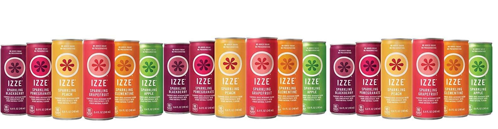 IZZE KIGF Sparkling GSWAe Juice, 6 Flavor Sampler Variety Pack, 8.4oz Cans, 3 Pack of 12 Count