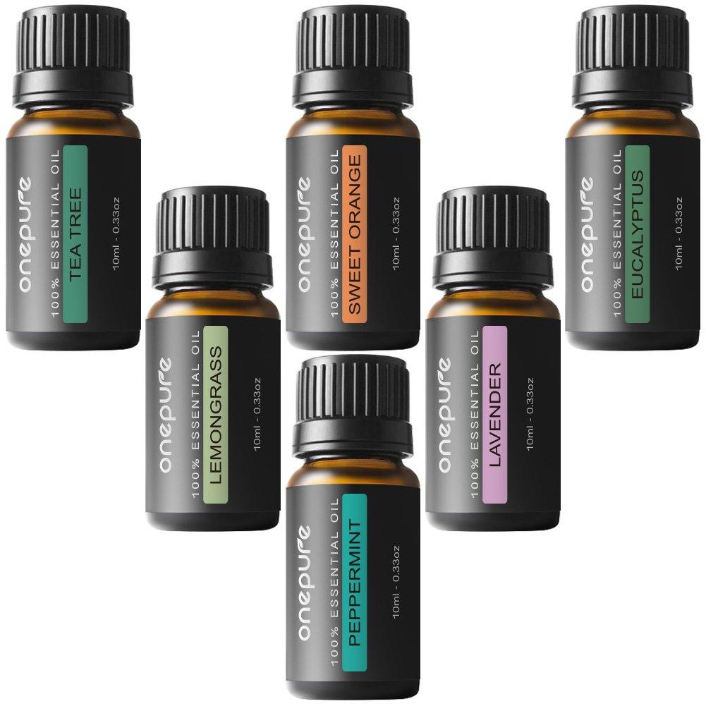 Onepure Aromatherapy Essential Oils Gift Set, 6 Bottles/ 10ml each, 100% Pure ( Lavender, Tea Tree, Eucalyptus, Lemongrass, Sweet Orange, Peppermint)