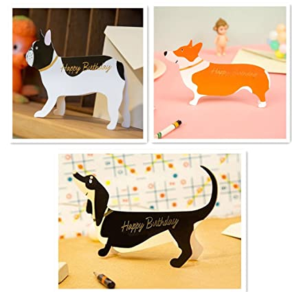 Birthday Pop Up Cards Set Lovely Cute Dogs Frenchie French Bull Dog Corgi