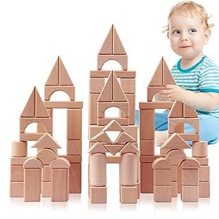 Hbwz Abito per Bambini in Blocchi di Legno 100PCS Castello in Legno Color cubi accatastati con Custodia Adatta per l'istruzione prescolare Ragazzi/Ragazze Bambini