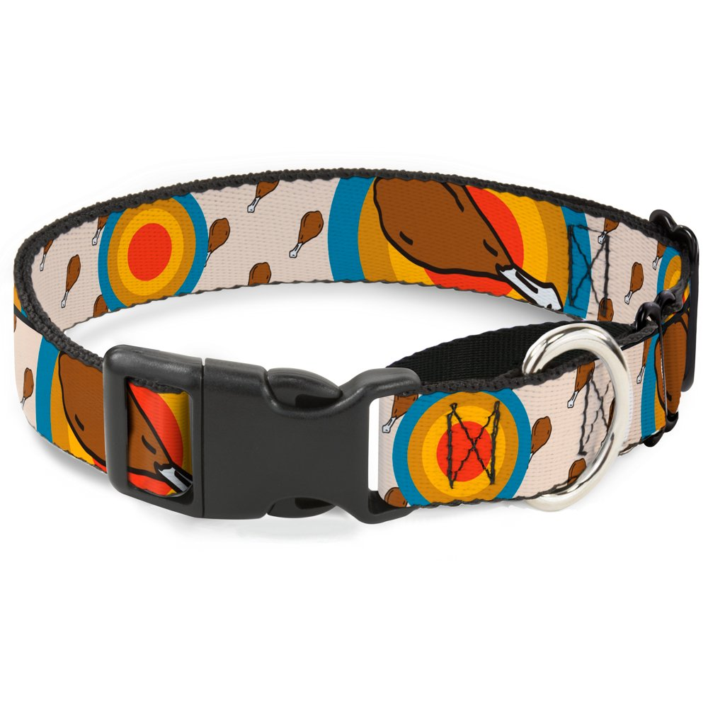 Buckle-Down Drumstick Target Martingale Dog Collar, 1  Wide-Fits 15-26  Neck-Large