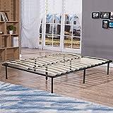 BestMassage Bed Frame Wood Platform Bed Frame black Steel Frame with Wood Slat Support, King Size