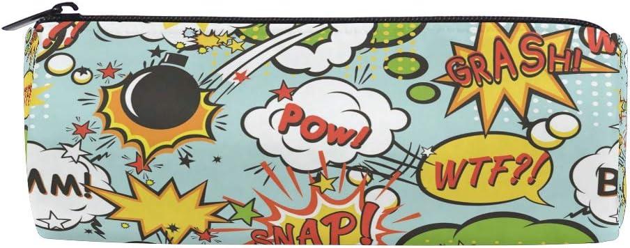Comic Boom - Estuche sin costuras para la escuela, niños, niñas, estudiantes, con cremallera, bolsas de maquillaje redondas: Amazon.es: Oficina y papelería