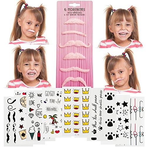 iKidoos® 36 Pack (Bonus 150 Tattoos) Girl Self Adhesive Fake Mustache Novelty for Kids, Fun Party Favors (Pink)