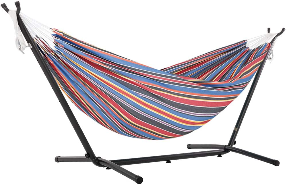 Vivere Double Polyester Hammock & 9' Steel Stand - Techno