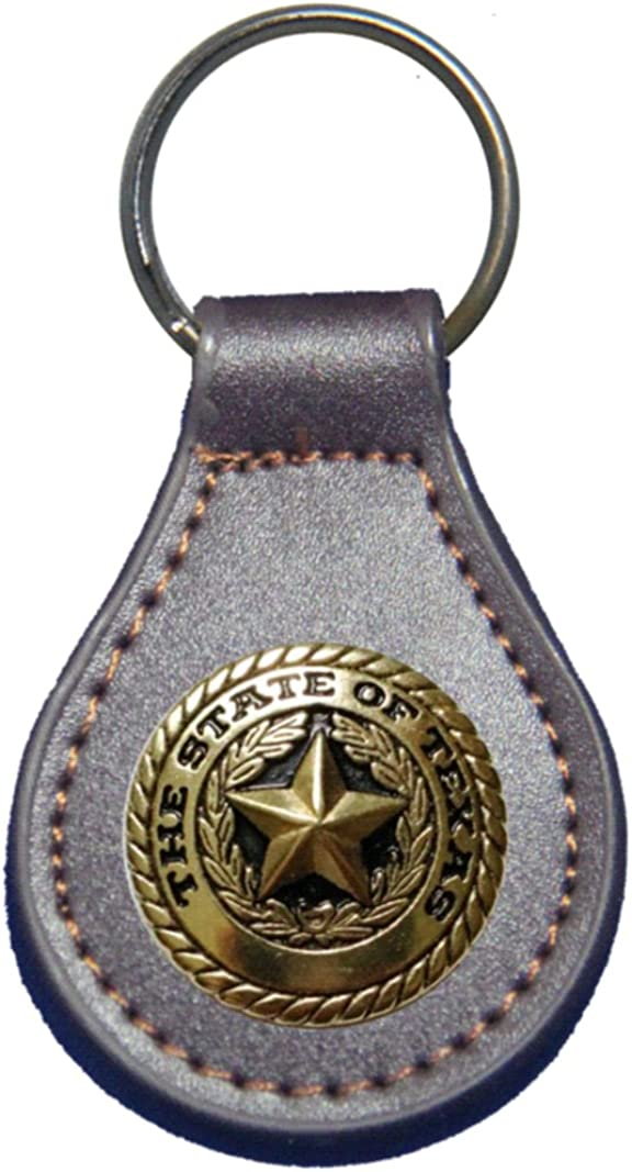 Gold Texas State Seal leather key fob or keychain