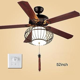 Nueva china Ventilador de techo Con Luz de Ventilador eléctrico Con Remoto Mute Bajo perfil 5 palas Sola luz Ventilador de techo Para Sala de estar Restaurante Dormitorio Brisa de verano-K: Amazon.es: