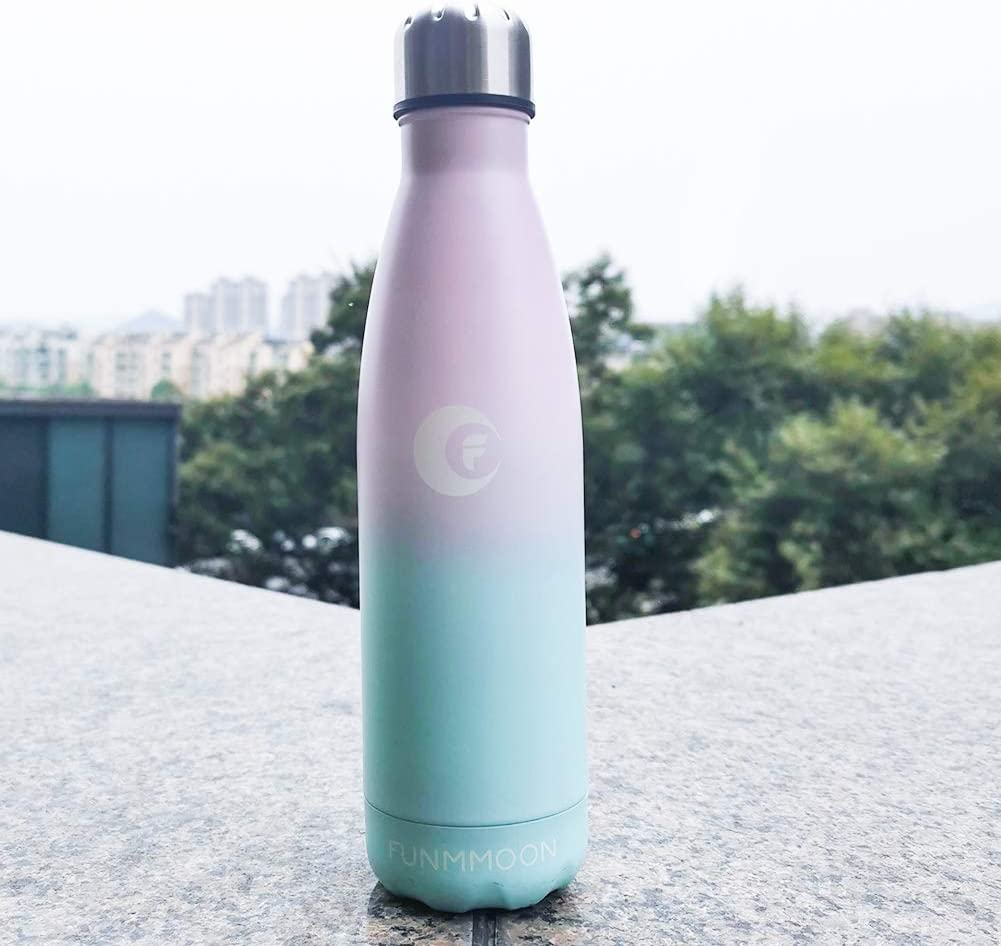 Cycling funmoon 500ml Leak-Proof No Sweating BPA-Free Stainless Steel Reusable Water Bottle Double Walled Vacuum Insulated Bottles Keeps Cold and Hot for Home School Sports /& Outdoors