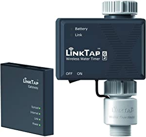 LinkTap G2 Wireless Water Timer & Gateway & Flow Meter - Remote Hose Timer for Lawns & Gardens - Easy-Install Cloud Controlled Watering with Smart Assistant & Real-Time Fault Detection & Notifications