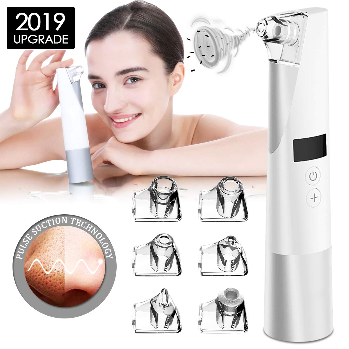Blackhead Remover with 6 Changeable Functional Probes Electric Facial Pore Cleanser Electric Acne Comedone Extractor Kit Facial Pore Extractor for Acne Grease Dirt Dead skin (White)
