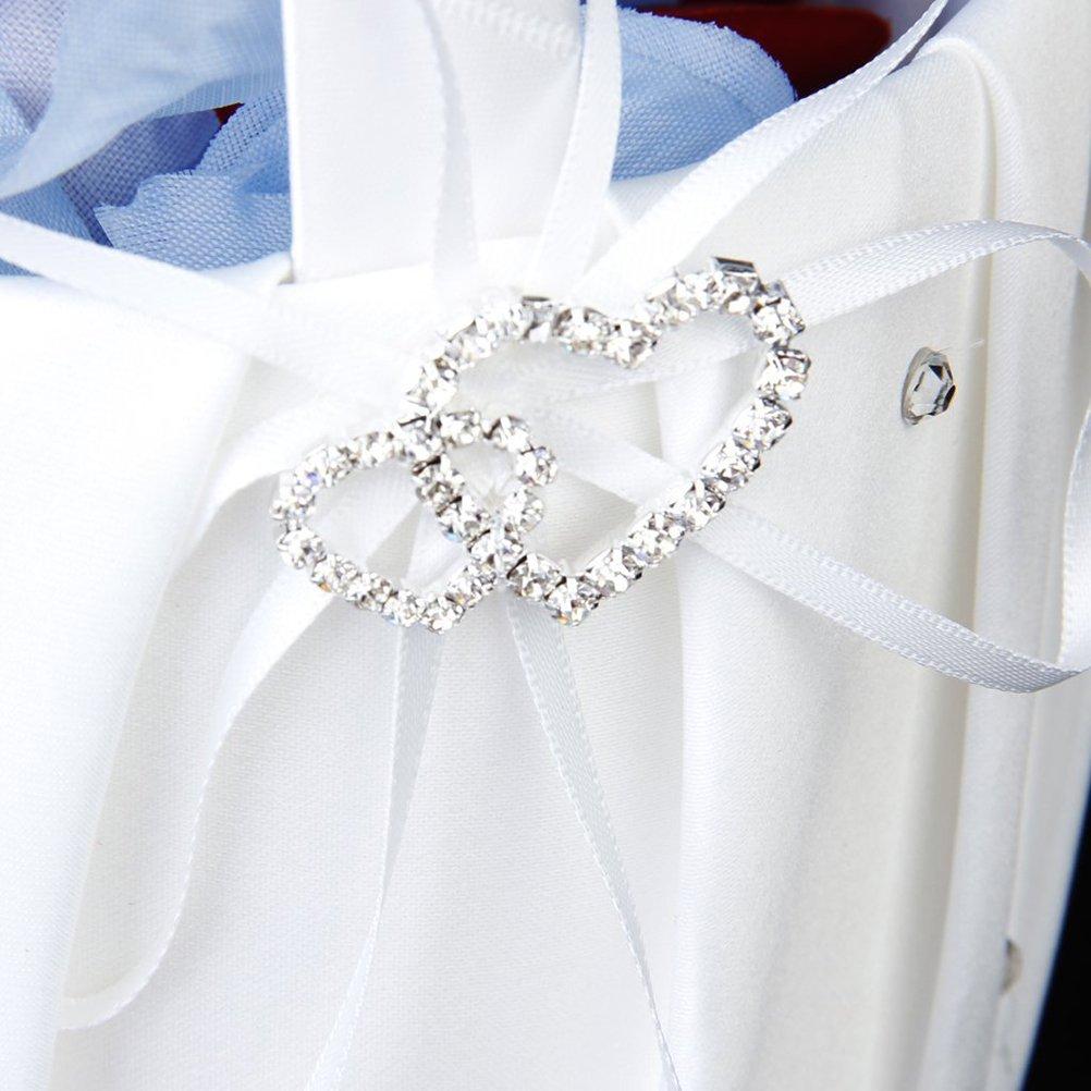 Pixnor Kissen Hochzeit Braut Elegante M/ädchen-Blume Korb Doppel Herz Ring Kissen