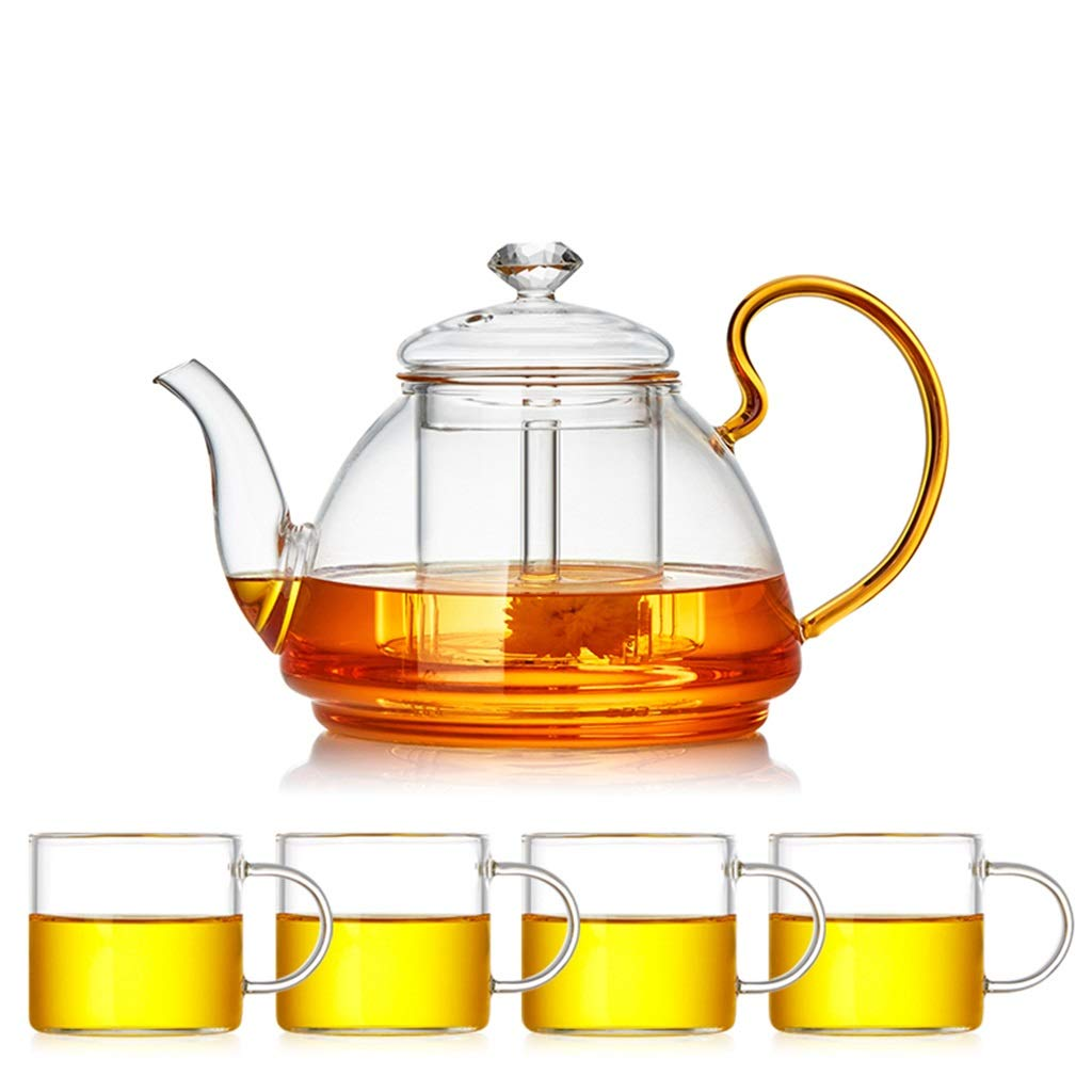 Glass teapot high temperature thickening large capacity household heat resistant tea separation tea filter teapot set CHAJU (Color : B) by CHAJU