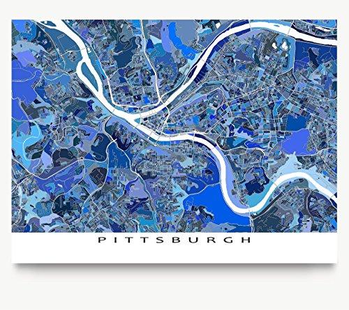 Pittsburgh Map Art Print, Pennsylvania City Wall Poster, Blue