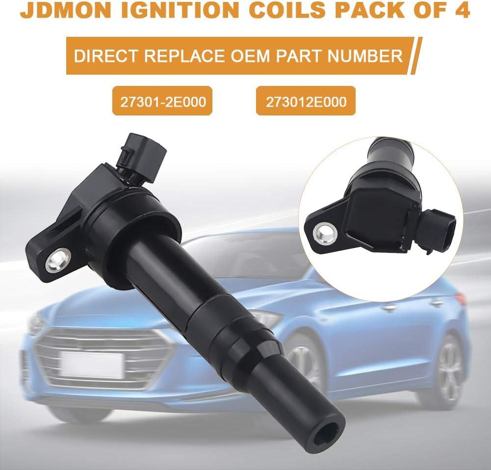 JDMON Compatible with Ignition Coils Kia Hyundai Soul Forte Tucson Elantra//Elantra GT 1.8L 2.0L 2011-2016 Replaces UF651 273002E000 Pack of 4