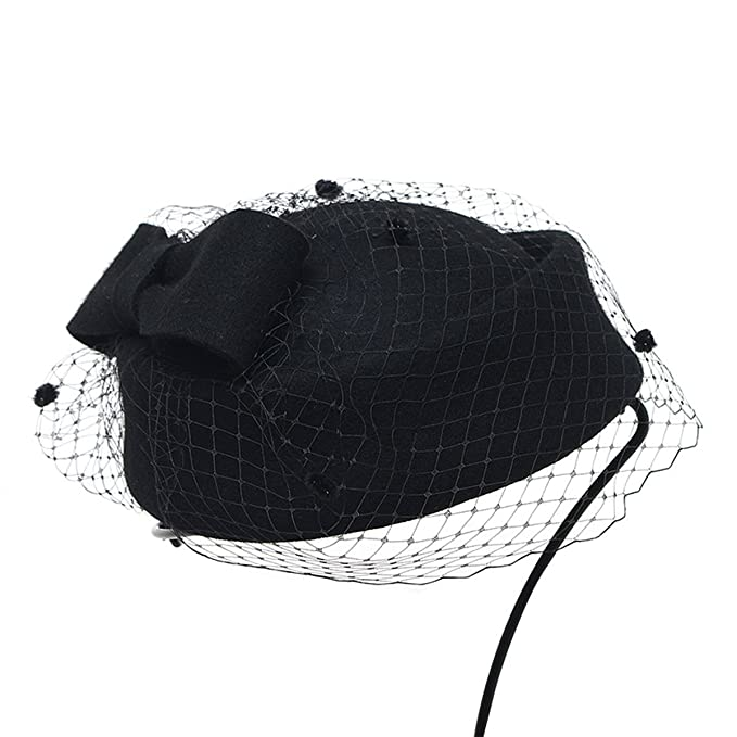 1940s Style Hats Retro British Style Cocktail Party Wedding Fascinator Veil Pillbox Hat for Women $20.59 AT vintagedancer.com