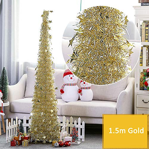 1.5m Artificial Pop up Christmas Tree Shiny Tinsel Folding Xmas Tree w/ Stand Gorgeous Collapsible Christmas Tree Reflective Star Decorative Glittering Tree for Christmas Festival Holiday Decorations