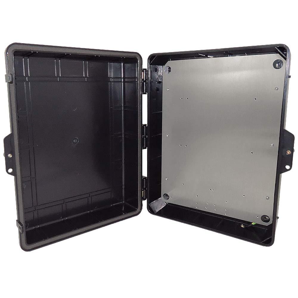 Altelix Stealth Black NEMA Enclosure 14'' x 9'' x 4.5'' Inside Space Polycarbonate + ABS Tamper Resistant Weatherproof Rainproof with Aluminum Equipment Mounting Plate