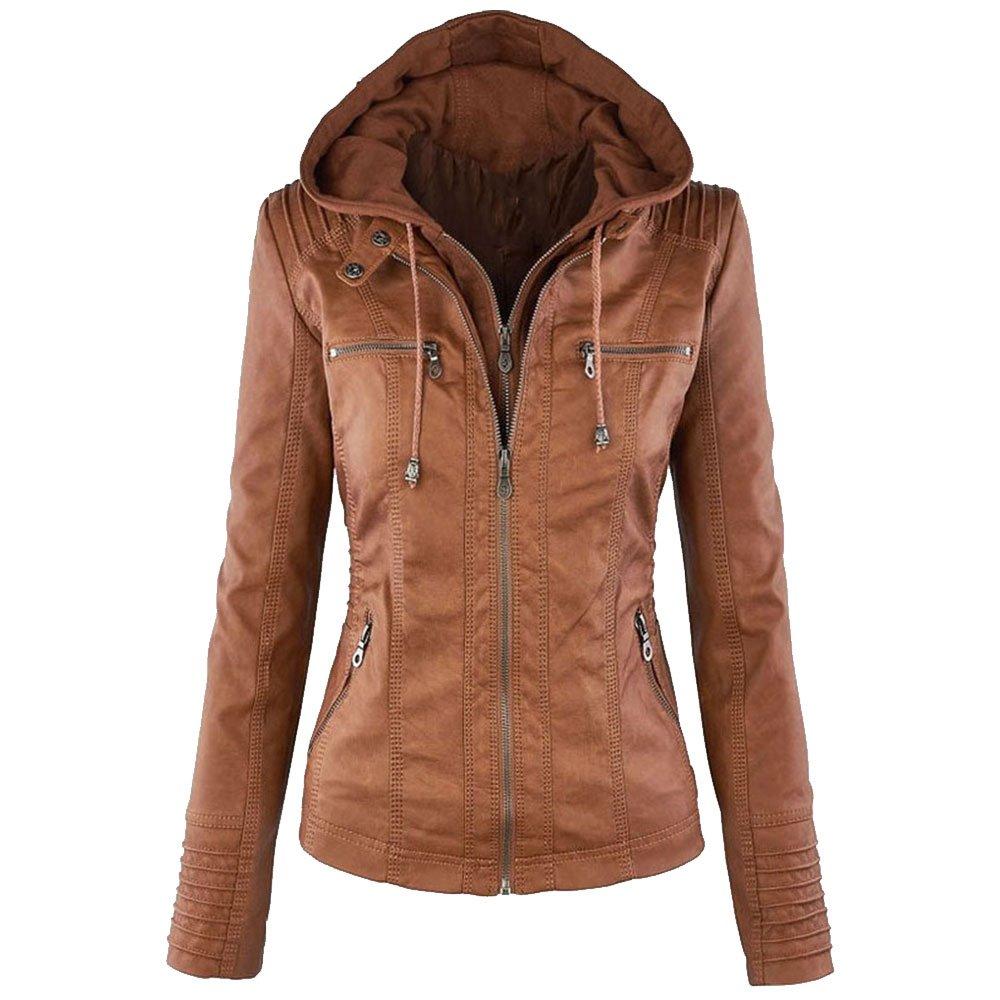LINGMIN Women's Faux Leather Motorcycle Jacket Removable Hooded Full Zipper Outerwear W_0623LeatherJacket01
