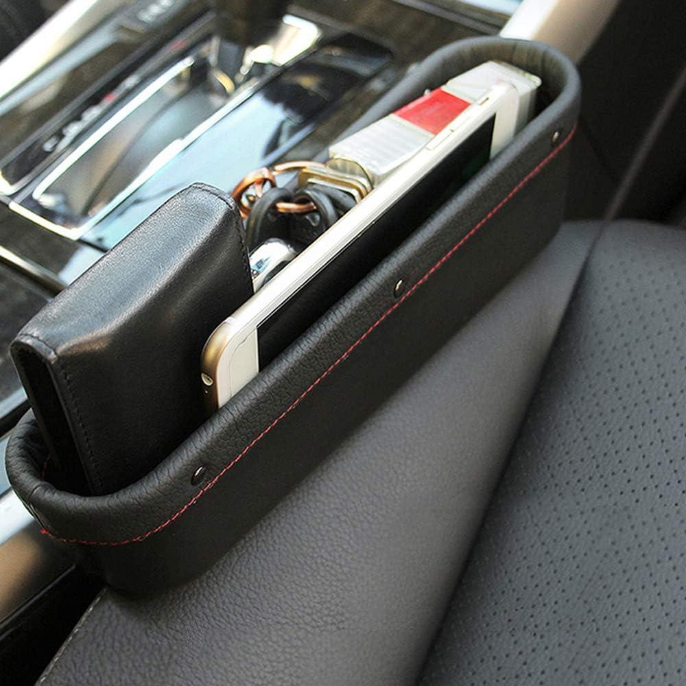 Organizador de bolsillo lateral Asiento de autom/óvil Espacio de llenado Espacio Caja Botella Portavasos Accesorios interiores de coche Cuero de PU Organizador de coches de costura Marron Y427