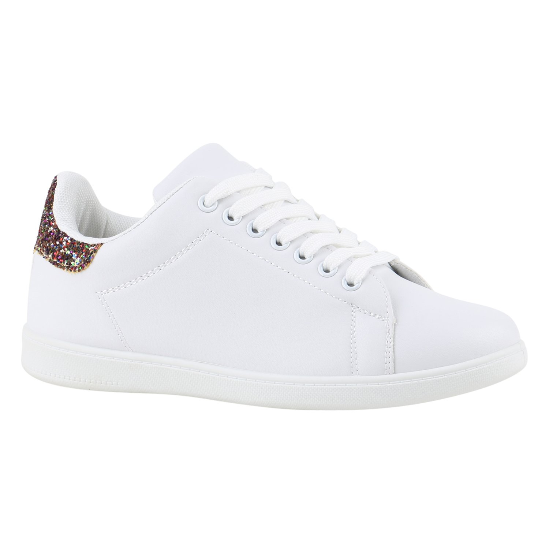Stiefelparadies Damen Weißs Sneaker Low Übergrößen Flandell Weißs Damen Weißs Mehrfarbig 47a9b4