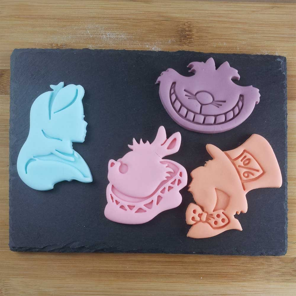 FULL SET of 4 Characters Cookie Cutters inspired by ''Alice's Adventures in Wonderland'' novel by Lewis Carroll, 4 pcs, Includes Alice, Mad Hatter, Cheshire, and White Rabbit characters by Bespoked Curations (Image #2)