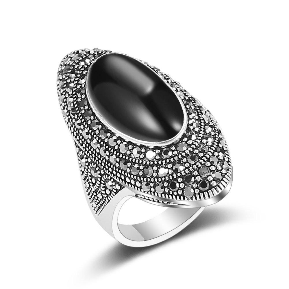 Mytys Vintage Black Marcasite Stone Rings for Women Silver Plated (7)