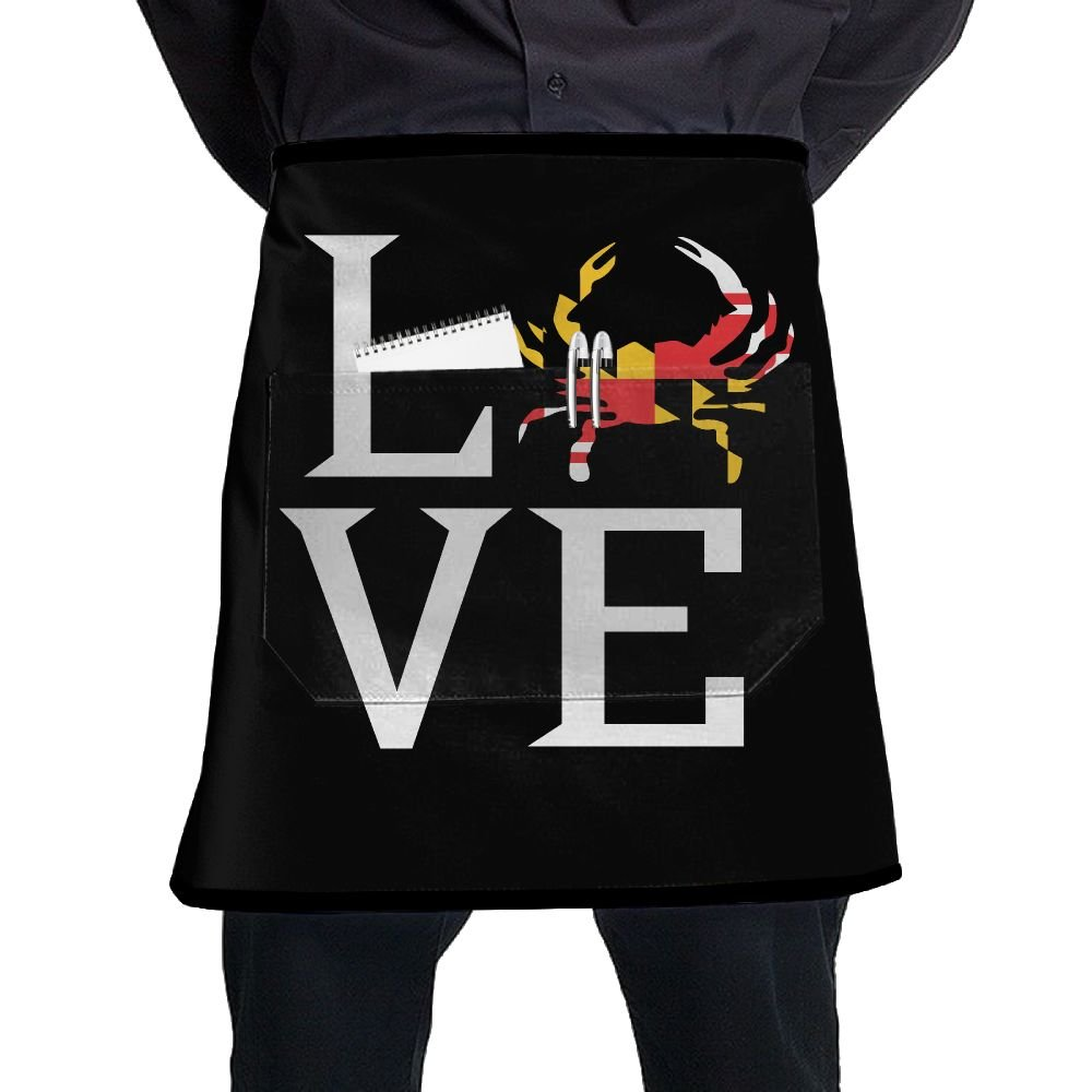Men Women I Love Maryland Adjustable Cooking Kitchen Aprons With Pockets