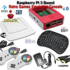 RetroBox - Raspberry Pi 3 Based Retro Game Console, 32GB Red Edition with Heatsinks, two Snes Type Controllers and Wireless Keyboard, RetroPie