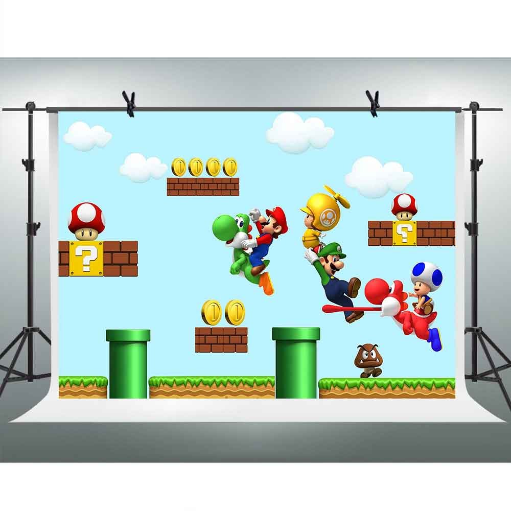 FHZON 10x7ft Web Games Super Mary Backdrops for Photography Mario Gold Clearance Background Themed Party YouTube Backdrops Photo Booth Studio Props GEFH273