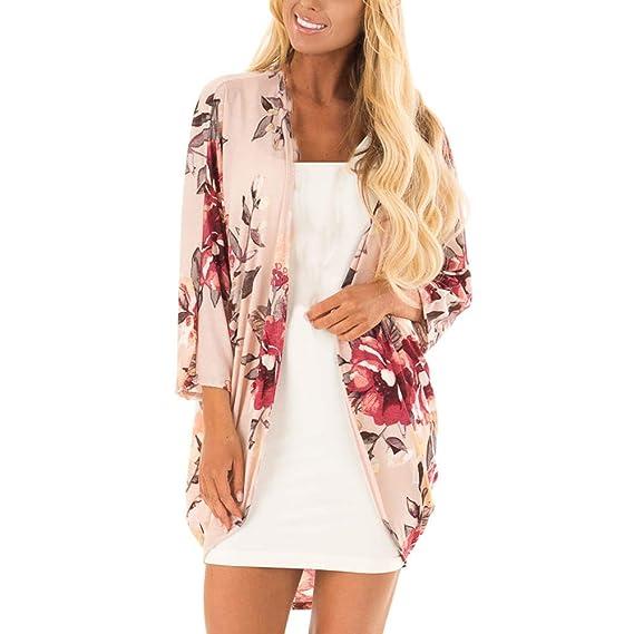 Yvelands Moda Mujer Ropa de Playa Despeje Casual Chaleco Estampado Kimono Cárdigan Top Cover Up Blusa