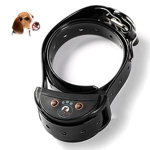 Jcotton Collier Anti-aboiement automatique rechargeable Sensibilité réglable Son Statique Chien Animal Bark Collier (L)