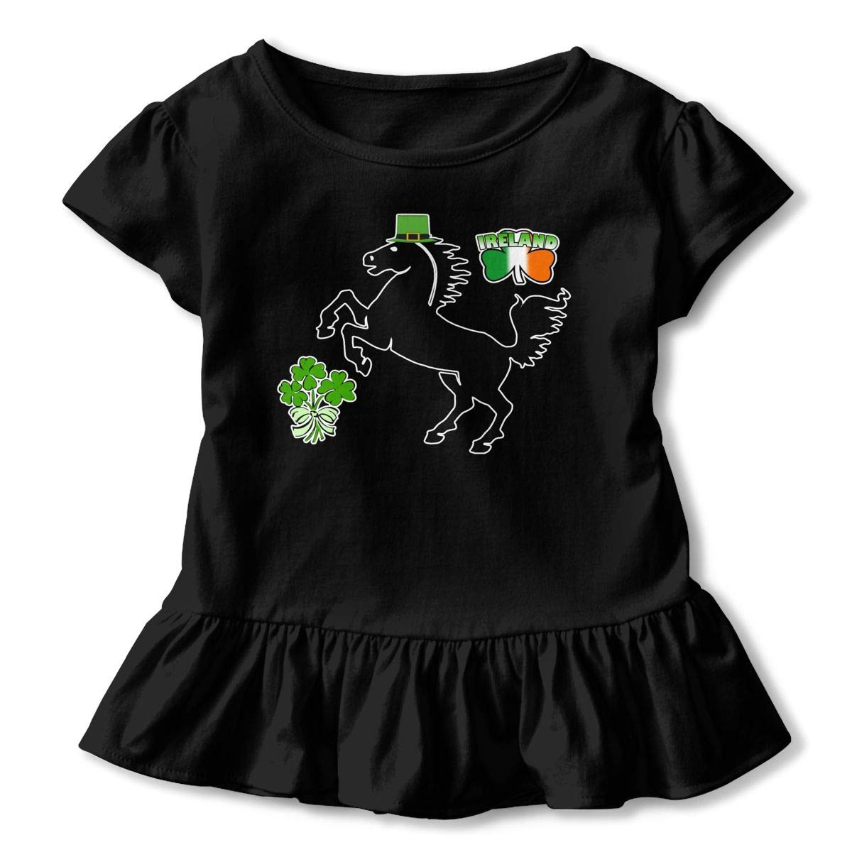 ZP-CCYF St Patricks Day Irish Horse Toddler Baby Girl Ruffle Short Sleeve T-Shirt Soft Cotton T Shirts