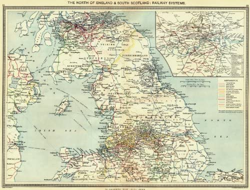 Map Of North England And Scotland.Amazon Com Uk North Of England South Scotland Railway Systems