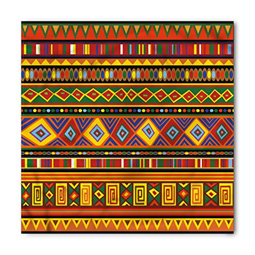 Lunarable Tribal Bandana, Geometric Ethnic Aztec Style African Pattern with Colorful Shapes Folk Art Design, Printed Unisex Bandana Head and Neck Tie Scarf Headband, 22 X 22 Inches, Multicolor (Print Tie Hippie)
