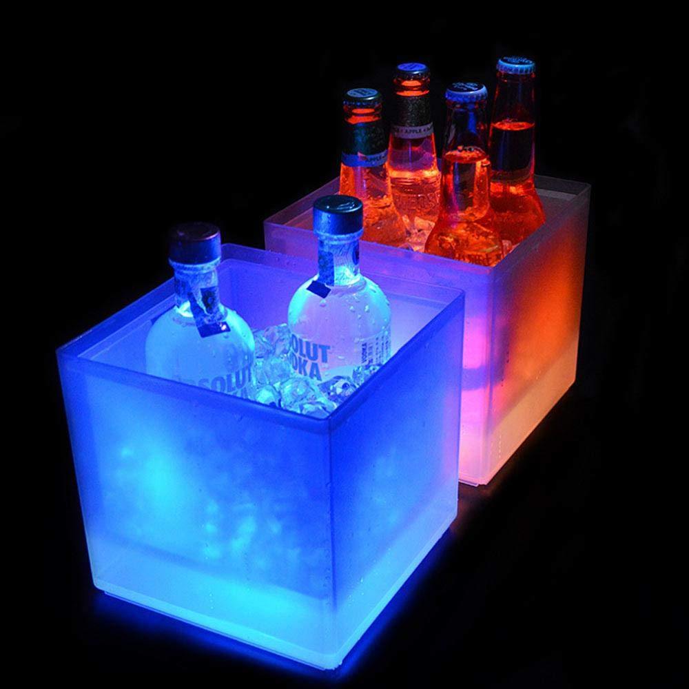 Volwco Ice Bucket 2 Pcs Color Changing LED Cooler Bucket Double Layer Square Bar Beer Ice Bucket Champagne Wine Drinks Beer Bucket for KTV Party Bar Home Wedding - 3.5 L / 118 Oz by Volwco