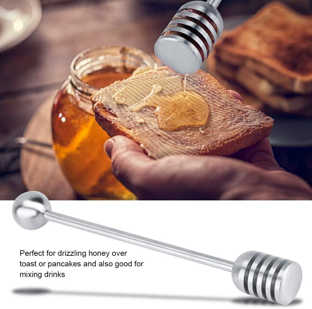Acouto Honey Dipper Solid Stainless Steel Honey Spoon for Honey Jar Dispense Drizzle Honey Honey Whisk