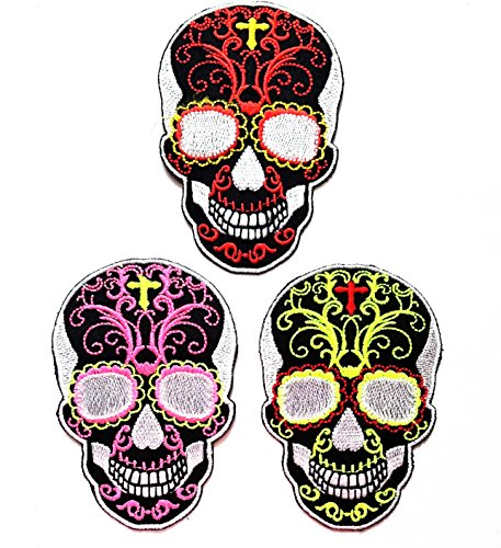 Nipitshop Patches Set 3 Pcs Skull Cross Chiristian Skull glasses Patch Sugar Skull day of the dead tattoo biker horror goth punk emo rock retro embroidered for Clothes Costume or (Day Of The Dead Costume Australia)