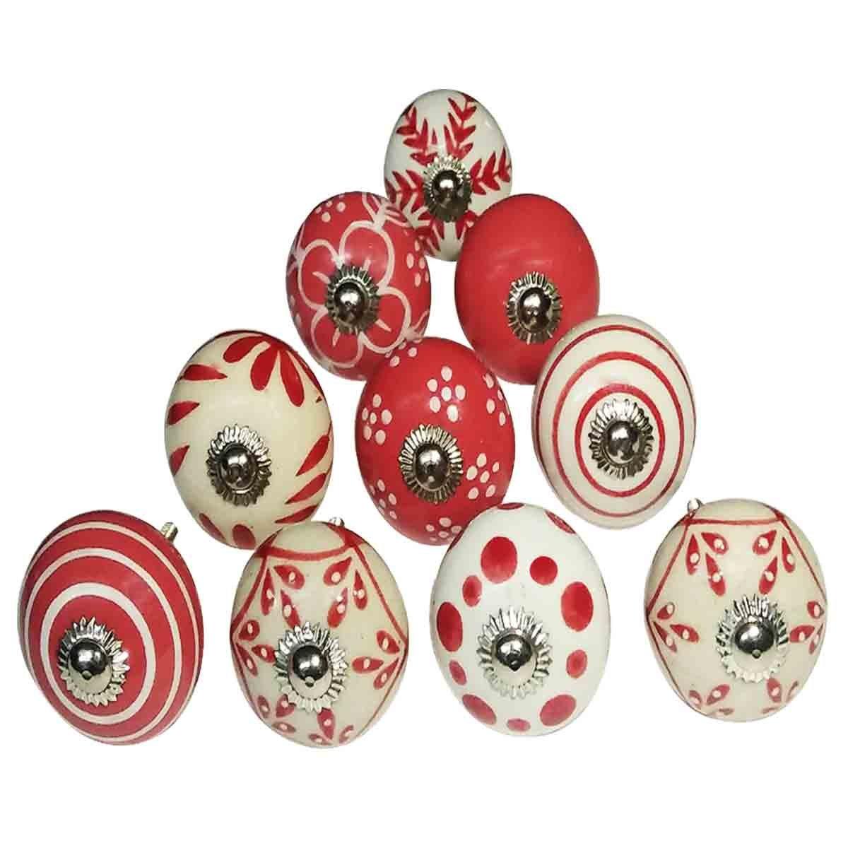 /Lot de 10/boutons assortis Rouge et blanc fleur Boutons en c/éramique faite /à la main Motif//tiroir de cabinet /à partir//poign/ées/ /Home Decor Accessoires Fait /à la main Boutons Sale/