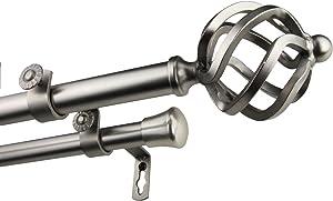 A&F Rod Décor Medusa 13/16 Double Curtain Rod 66-120 inch - Satin Nickel