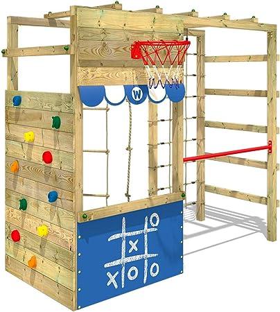 WICKEY Parque infantil de madera Smart Action azul, Área de juegos da exterior, Escalera Sueco con pared de escalada para niños: Amazon.es: Bricolaje y herramientas