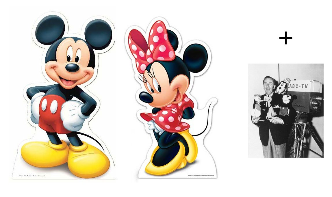 FAN PACK - Mickey Mouse and Minnie Mouse LIFESIZE CARDBOARD CUTOUT SET (STANDEE / STANDUP) - INCLUDES 8X10 (25X20CM) STAR PHOTO - FAN PACK #248