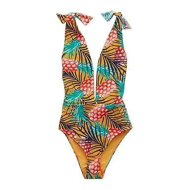 9211d88fac80 Vovotrade Women Swimsuit Pineapple Print Bikini Deep V Jumpsuit Backless  Swimwear Fashion Playsuits Bodysuit at Amazon Women s Clothing store
