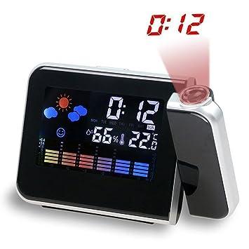Relojes de Alarma de Proyección Digital, Reloj de Alarma de Proyección LCD de Luz de Fondo con Temperatura Interior, Puerto de Carga USB, Snooze, ...