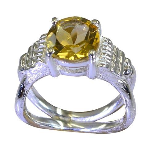 Amazon Com Gemsonclick Real Citrine Ring Golden 925 Silver Round