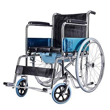 Silla de Ruedas - Carretilla Plegable para Ancianos Carretilla para Cuero multifunción portátil Scooter para Ancianos con Lavabo multifunción -63x76x90cm ...