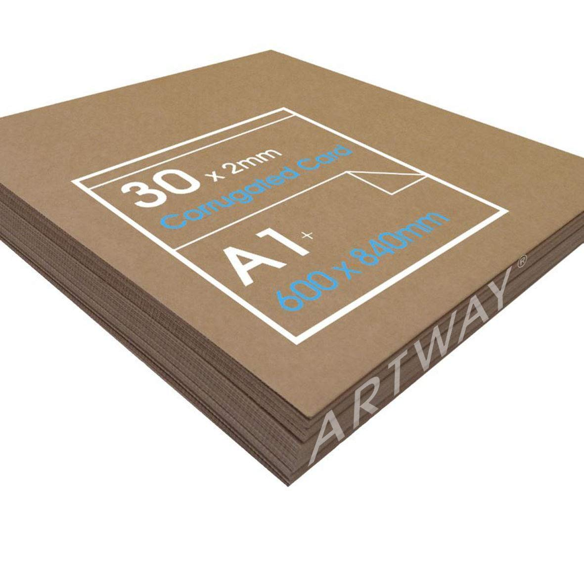 Corrugated Card for Arts, Crafts & Model Building. 30 Sheets of 840mm x 600mm x 2mm Smurfit Kappa