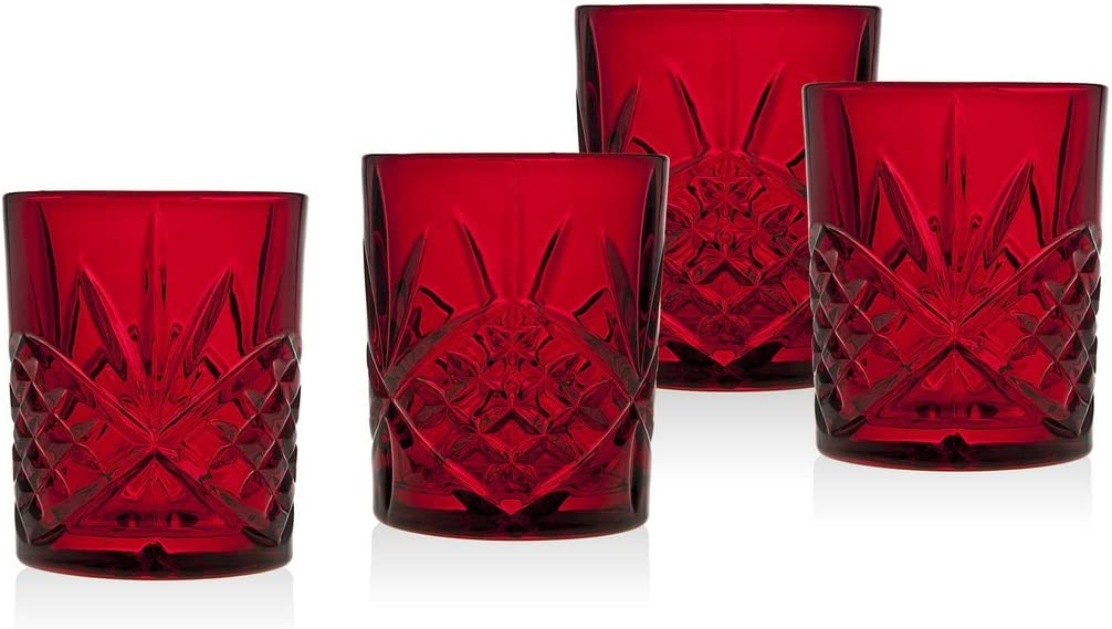 Godinger Double Old Fashioned Glasses, Beverage Glass Cups, Holiday Red - Dublin Collection, Set of 4
